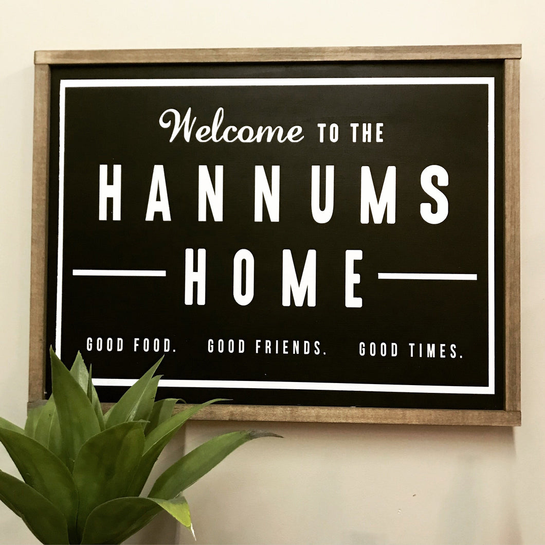 Fixer upper style welcome family sign