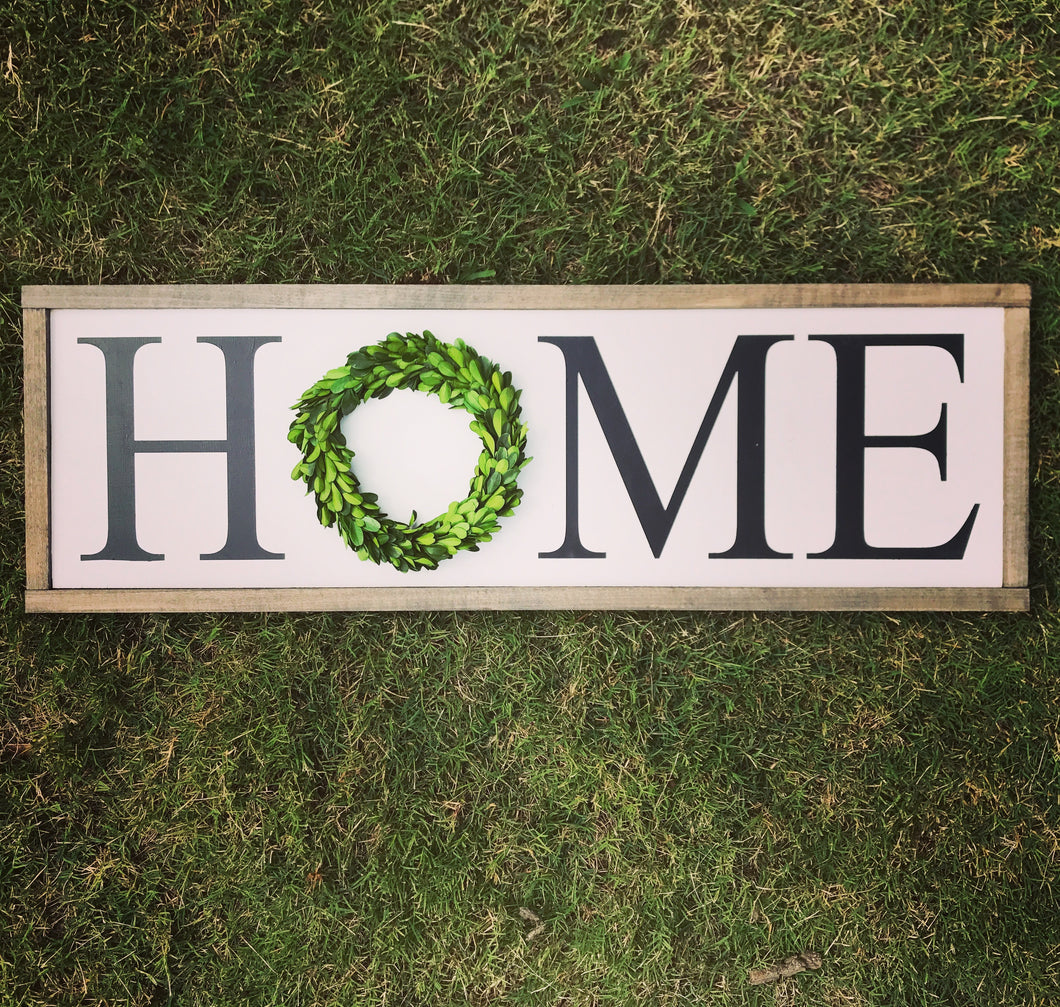 HOME with Small Wreath - Horizontal
