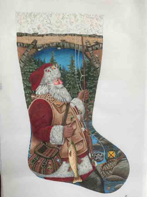 Tapestry Tent Santa Fly Fishing Christmas Stocking