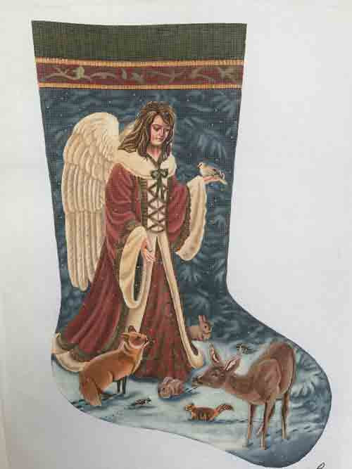 Tapestry Tent Angels and Wildlife Christmas Stocking