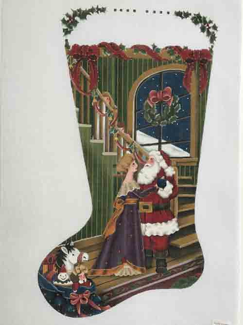 Melissa Shirley Mom Dancing w/Santa Christmas Stocking