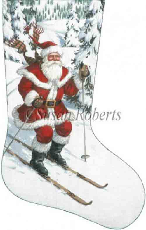 Tapestry Tent Santa Skier Christmas Stocking