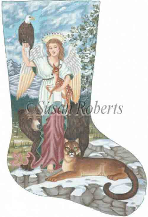 Tapestry Tent Angel  & Animals Christmas Stocking