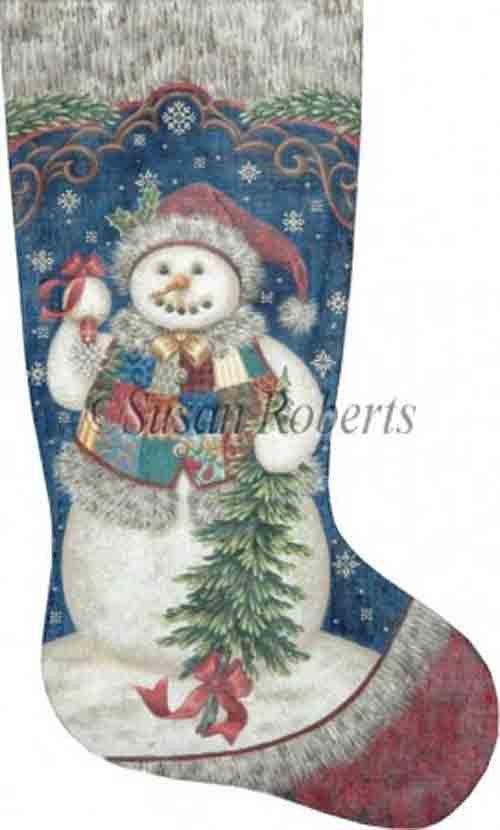 Tapestry Tent Patchwork Snowman Christmas Stocking