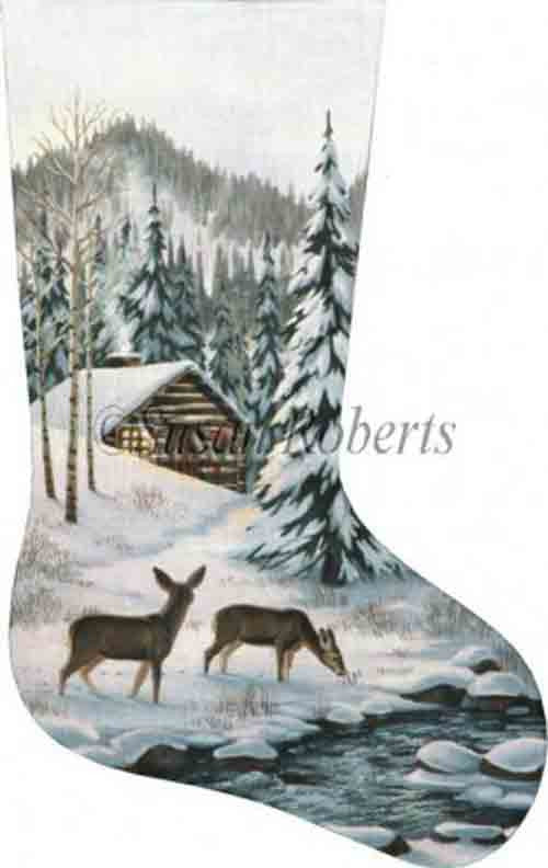 Tapestry Tent Cabin in the Woods Christmas Stocking