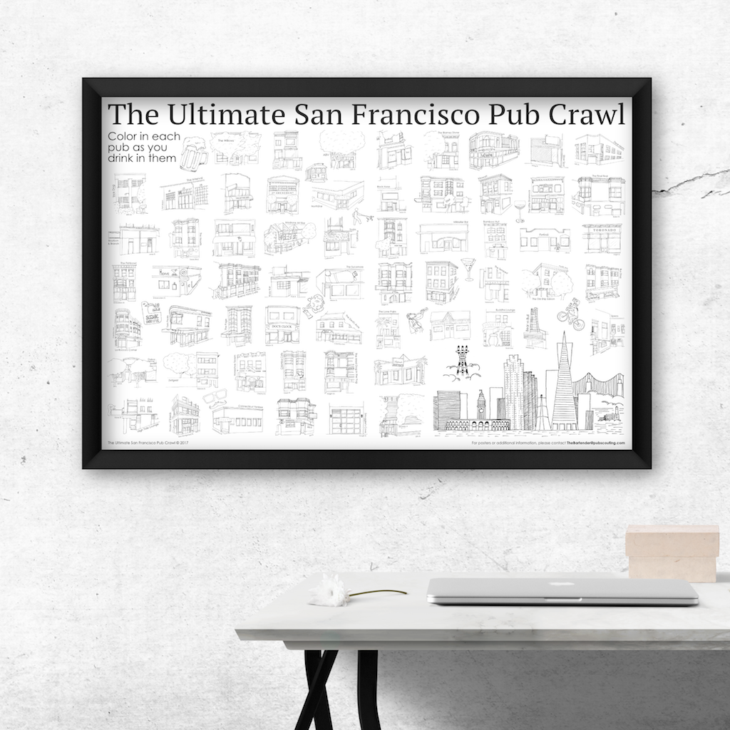 The Ultimate San Francisco Pub Crawl poster is both art & activity, seen here adding character to any living area.