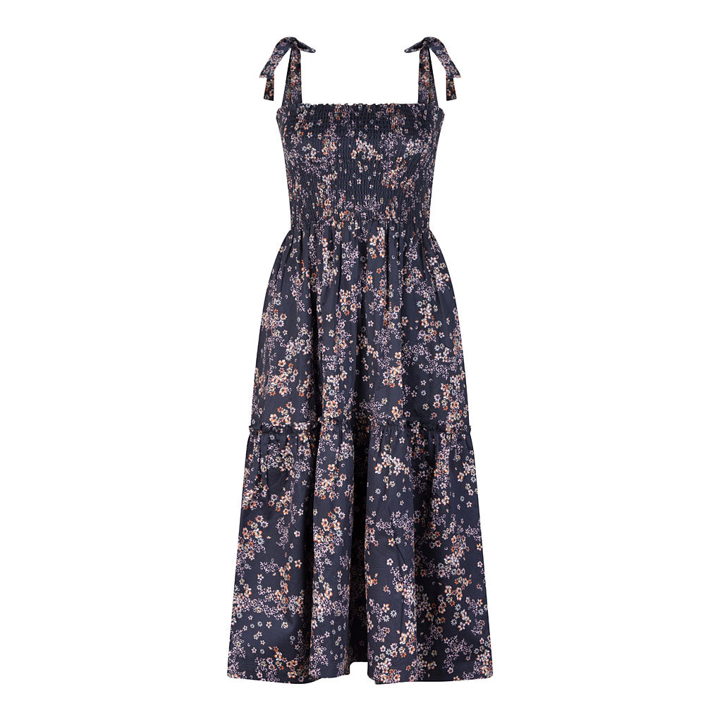HI LO The Label Zephyr dress in navy bloom front