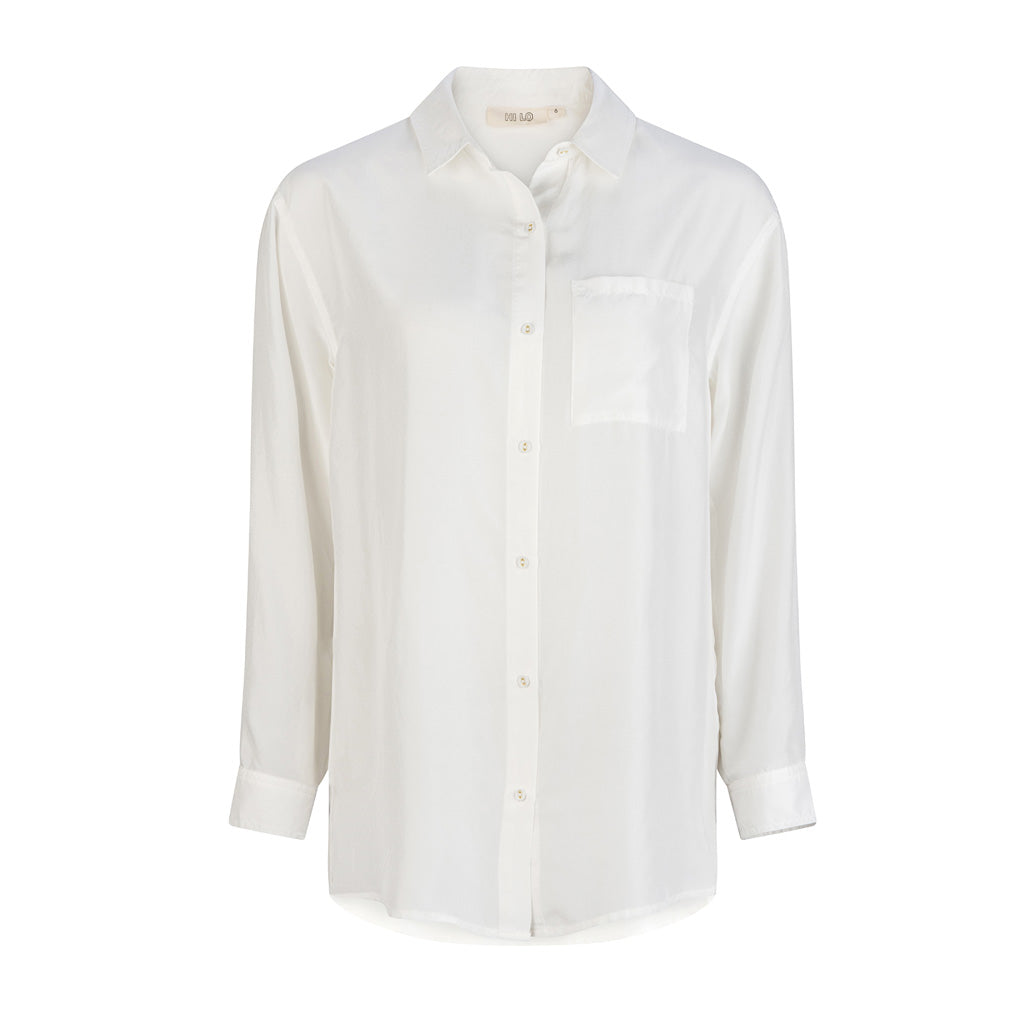 HI LO The Label white silk shirt front