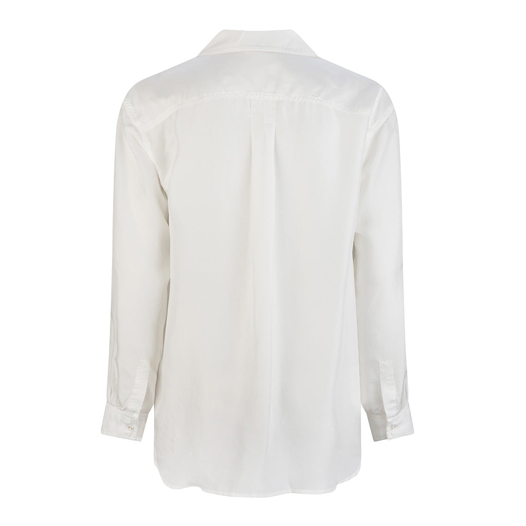 HI LO The Label white silk shirt back