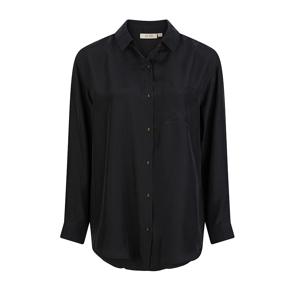 HI LO The Label black silk shirt front