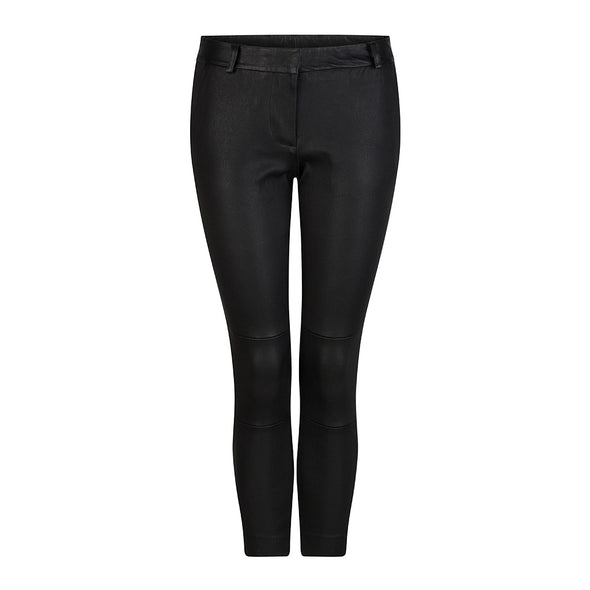 HI LO The Label stretch leather boyfriend pants in black - front