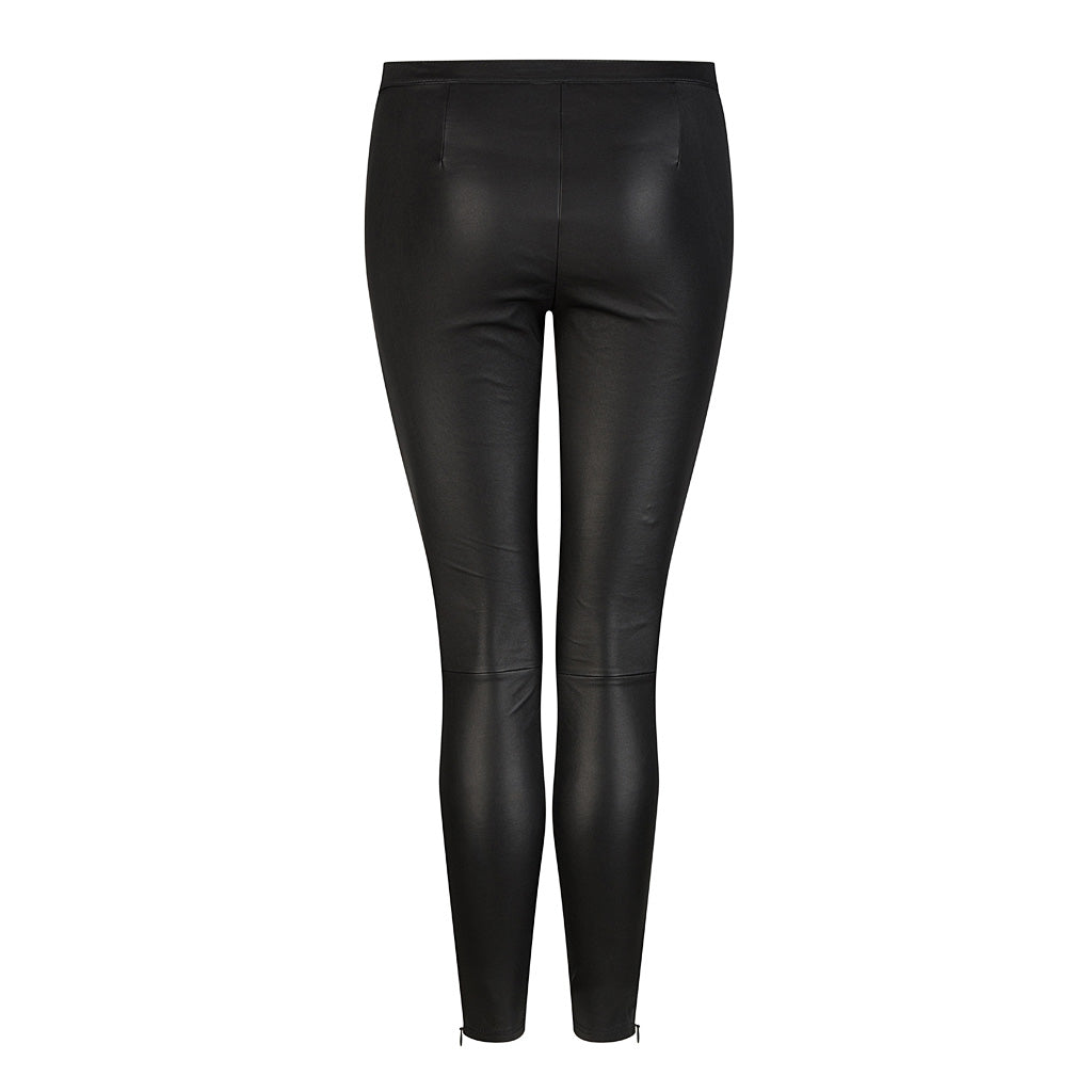 HI LO The Label stretch leather leggings in black - back