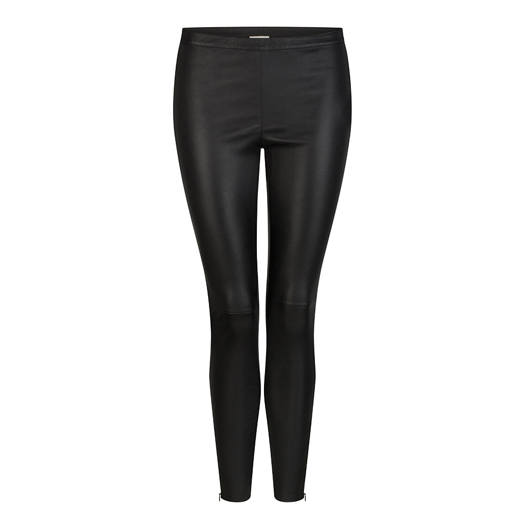 HI LO The Label stretch leather leggings in black - front
