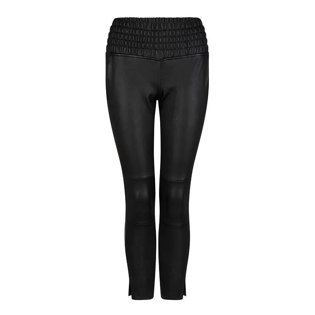 HI LO The Label stretch leather jogger in black - front