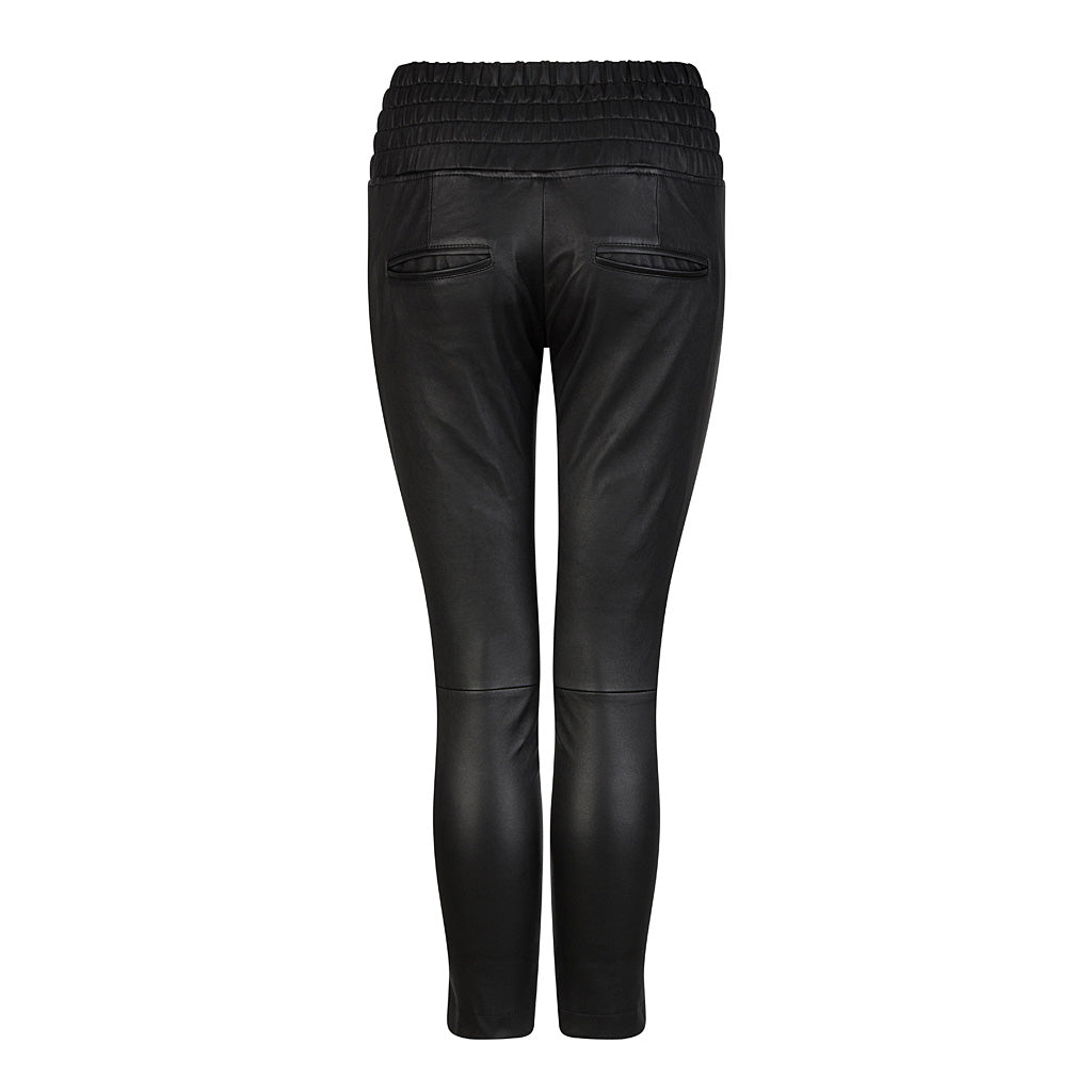 HI LO The Label stretch leather jogger in black - back