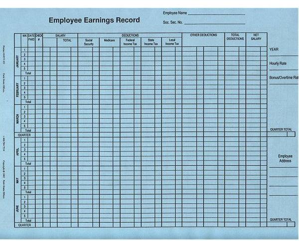 Item 10335/EE-blue   EMPLOYEE EARNINGS RECORDS (set of 10)