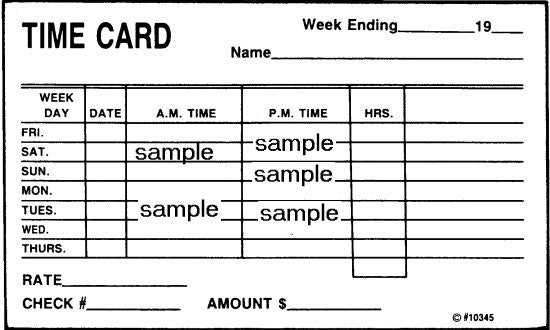 Item 10345   TIME CARDS 3x5 (Pak of 25) (8/03)\n