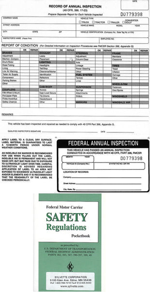 Item 10194   4 VEHICLE INSPECTION REPORTS,4 LABELS