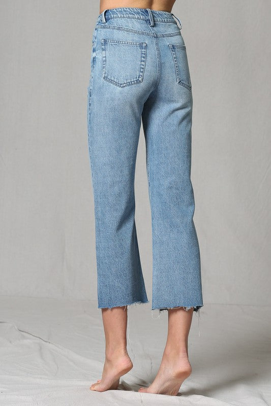 High Waisted Cut Edge Wide Jean