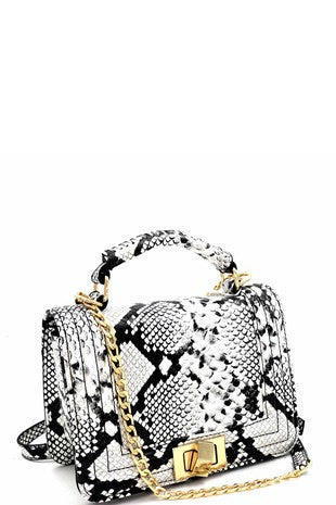 Snake Print Two-Way Lock Shoulder Bag