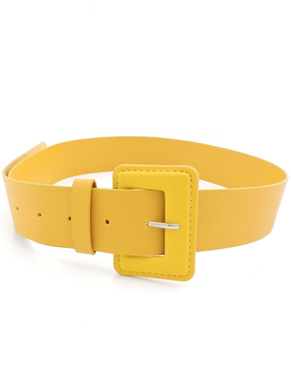 Retro Chic Tonal Vegan Belt -Mustard