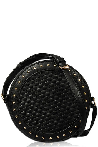 Circular Studed Crossbody-Black