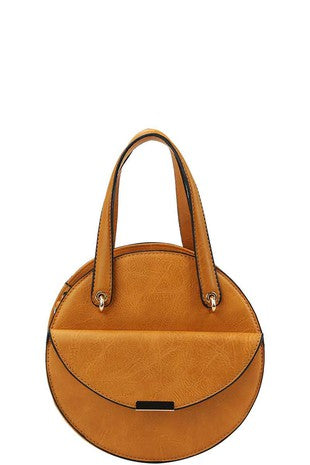 Leather Front Flap Circular Bag