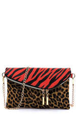 Leopard/Zebra Color Block Envelope Clutch