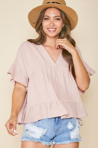 Mauve About You Ruffled Top