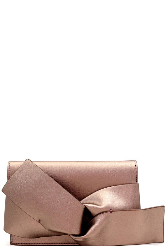 Bow Accent Clutch -Bronze