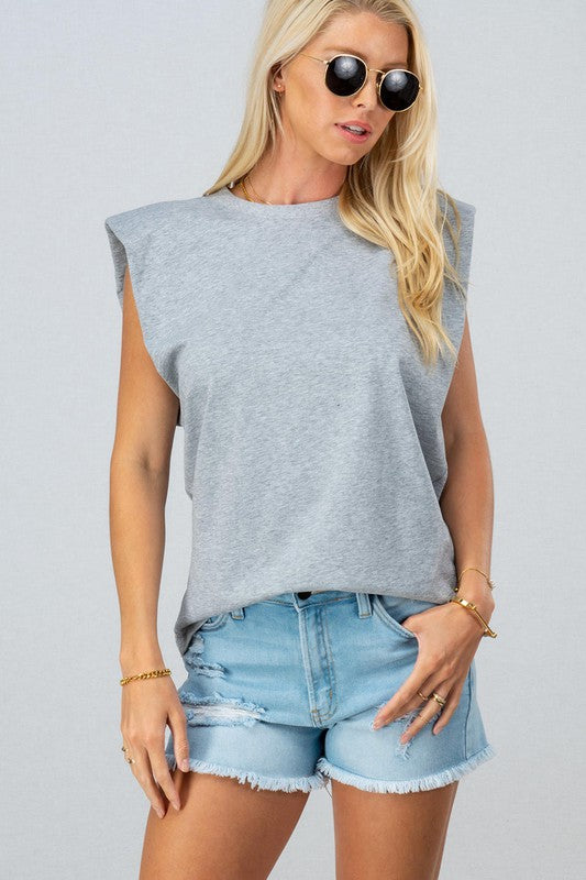 Ava Padded Shoulder Sleeve Top -Gray