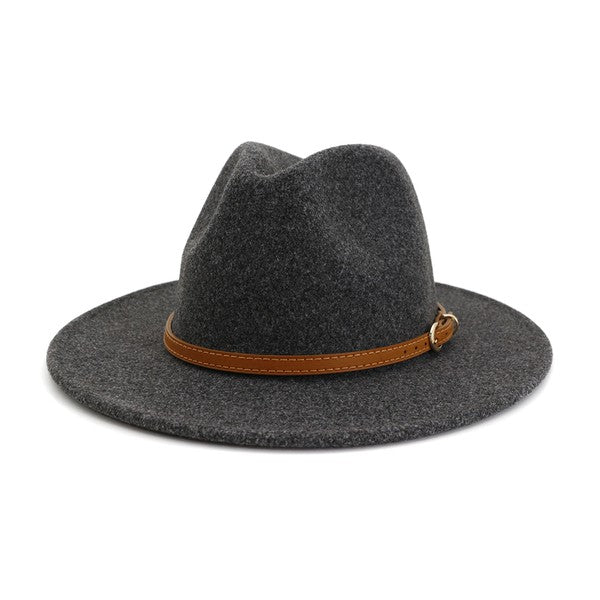 Dark Grey Simple Leather Belted Panama Hat