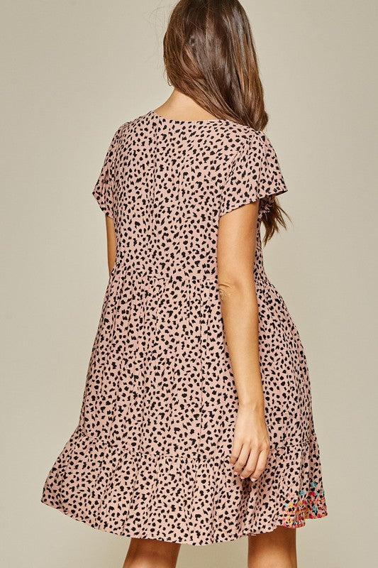 A Little Leopard Embroidered Dress