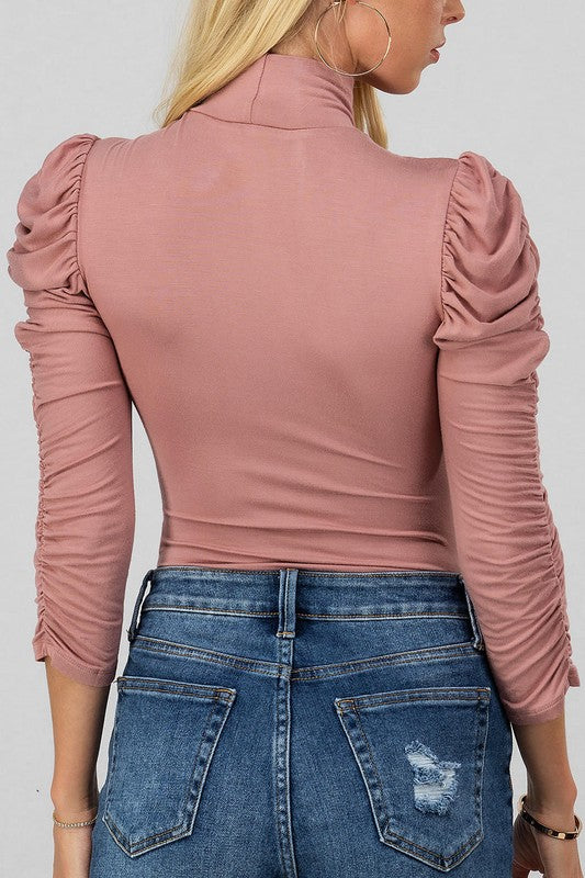 Out East Cinch Sleeve Bodysuit -Mauve