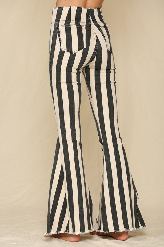 Happy Days Flare Striped Jeans
