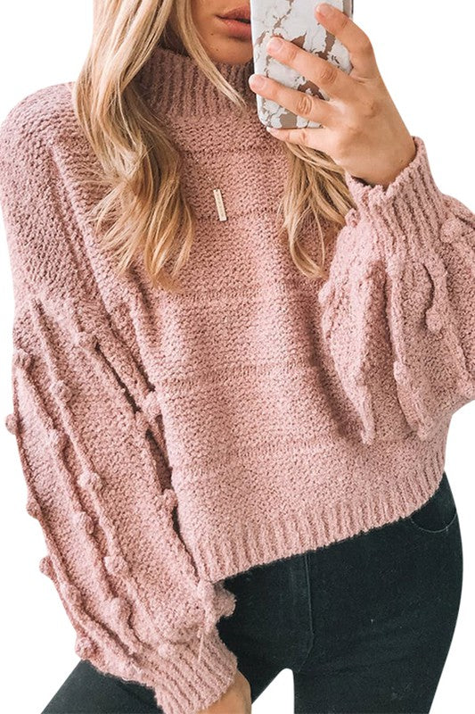 Tickle Me Pink Mock Neck Sweater