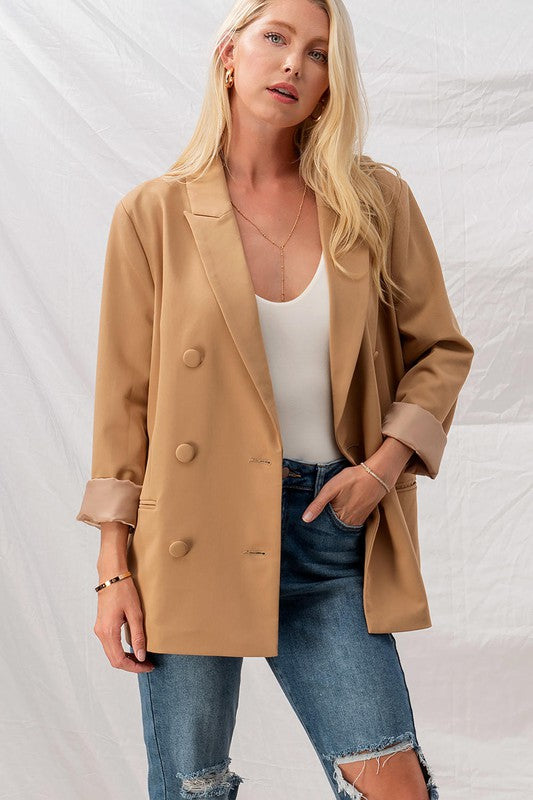 Dress To Impress Button Blazer -Camel