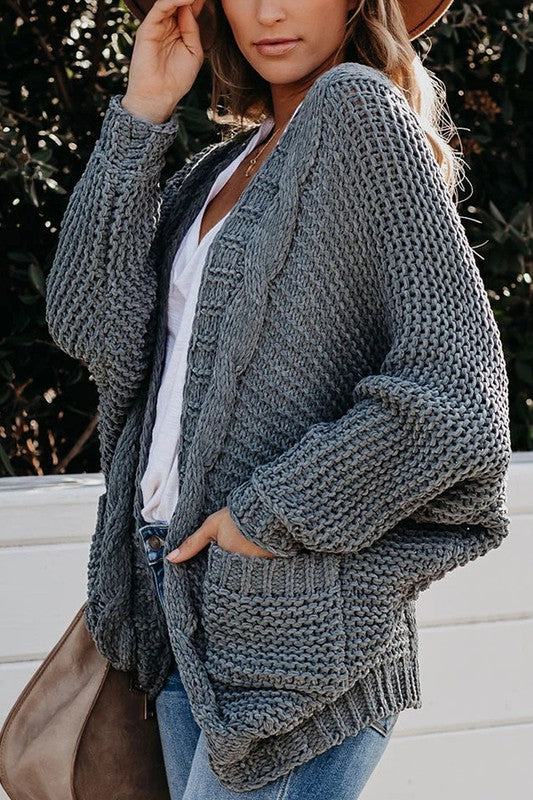 Clouded Skies Cable Cardigan
