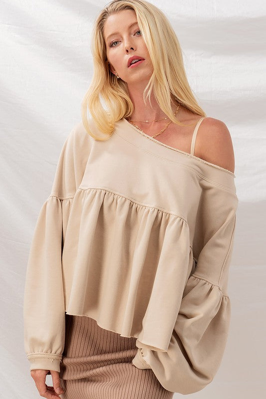 Day Date Frenchterry Babydoll Top