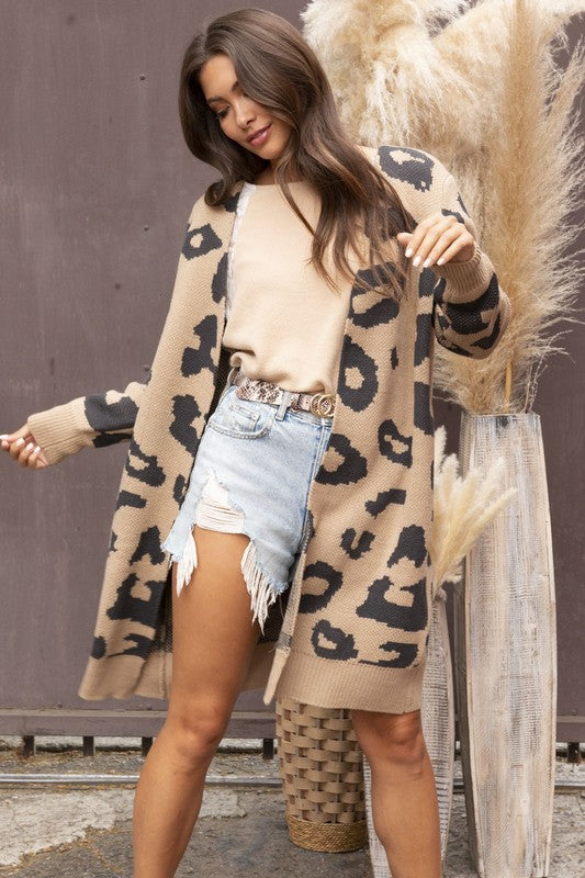 Always In Charge Animal Print Cardigan