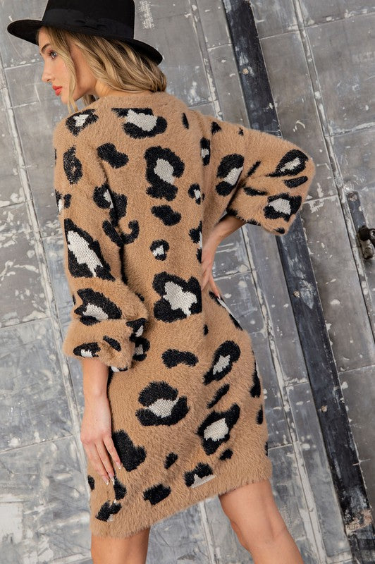Cheetah Chatter Fuzzy Sweater