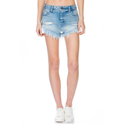 High Rise V Cut Fray Hem Distress Shorts