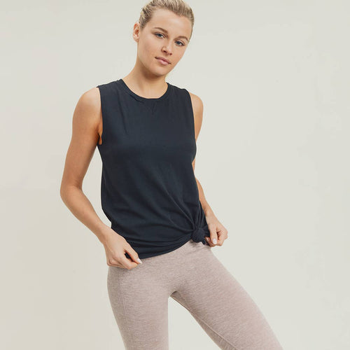 Essential Muscle Top with Ribbed Collar Accent