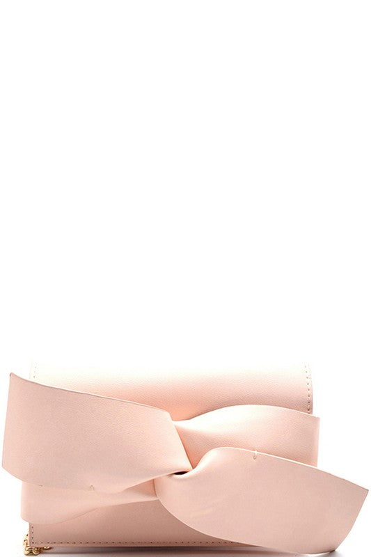 Bow Accent Clutch-Light Pink