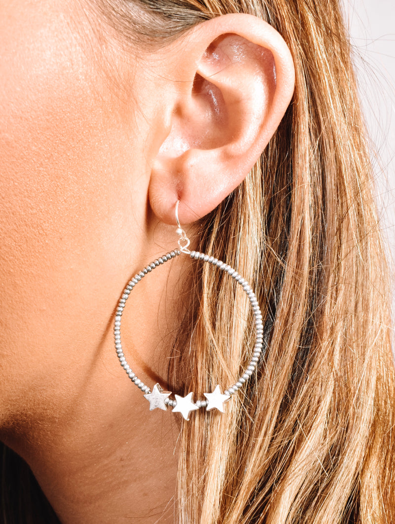 Silver Beaded Star Hoops