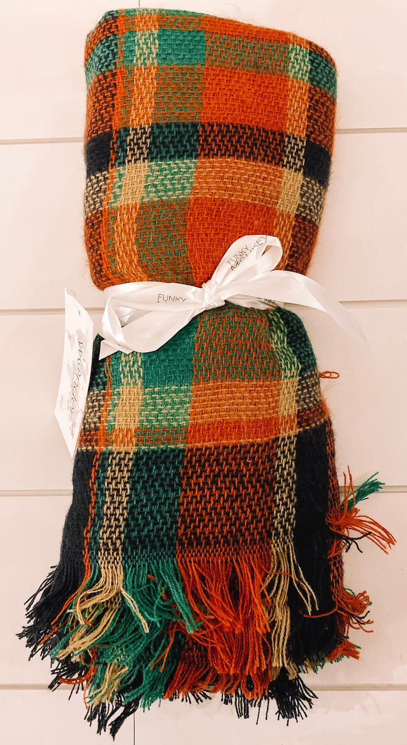 Navy, Green, & Orange Blanket Scarf