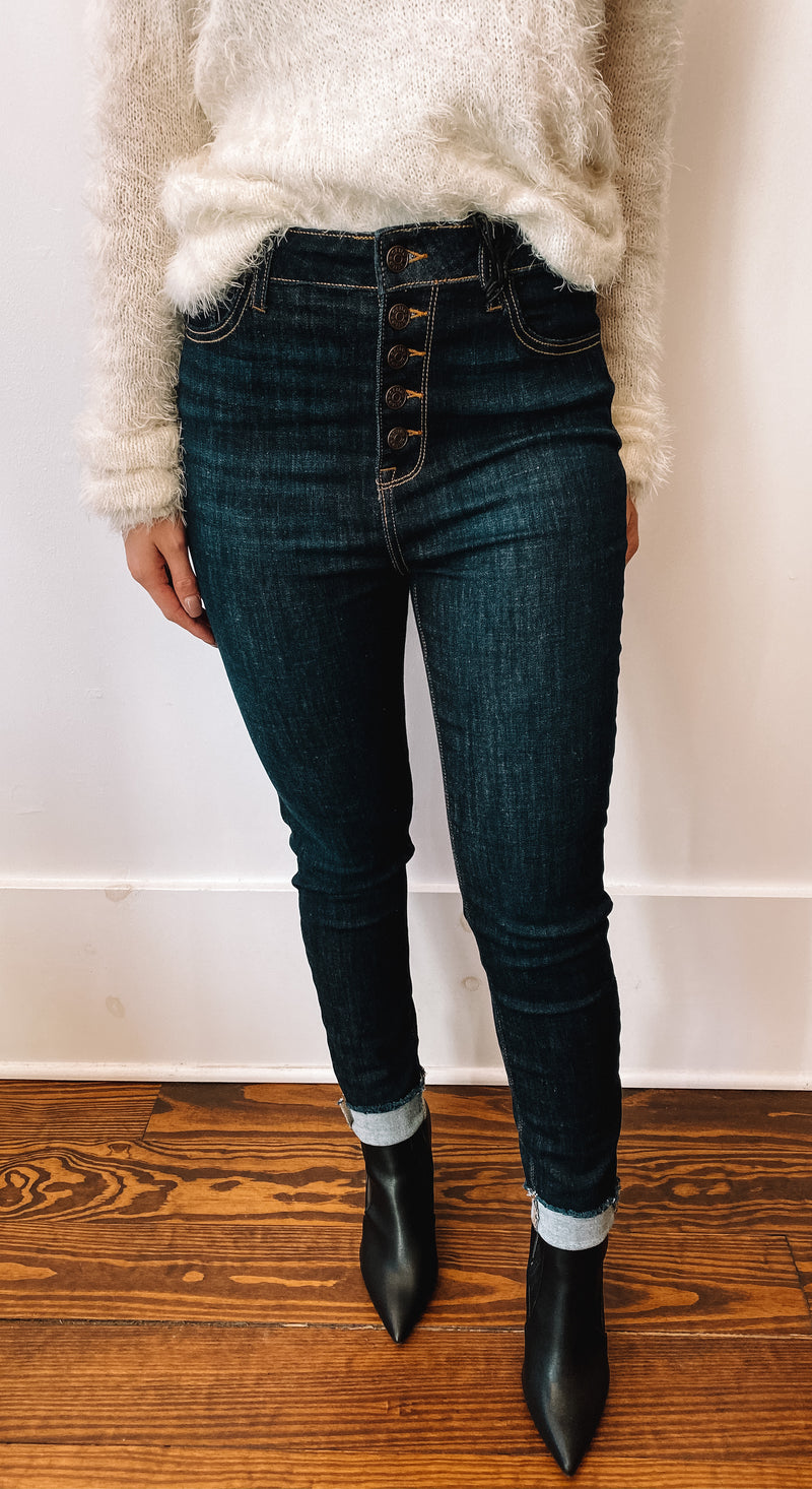 Cello High Rise Crop Skinny Jeans-comfort stretch
