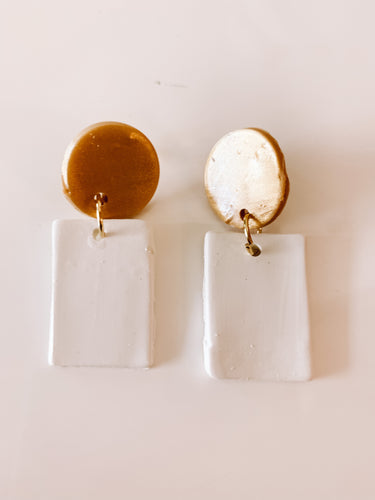 White W/Gold Square Dangles