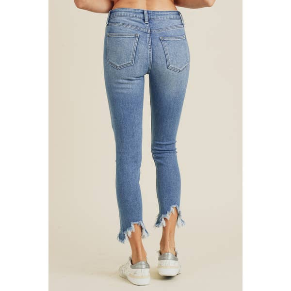 High Rise Skinny with Peak Hem