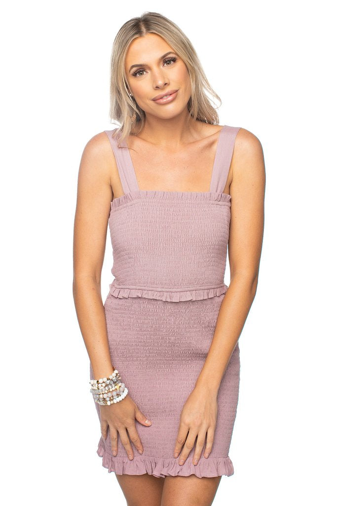 Monroe Smocked Mini Dress -Mauve
